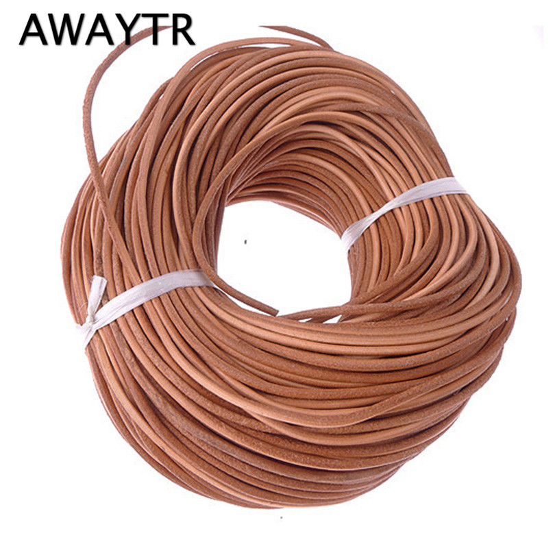 AWAYTR 3MM 10 Meter Natural Color Real Genuine Leather Cord Round Rope String for DIY Necklace Bracelet Jewelry Cord Dia 2mm artificial leather rope round collarbone necklace