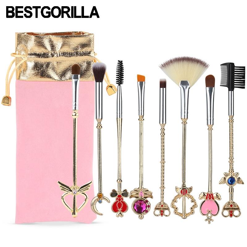 BESTGORILLA New Fashion 8pcs/set Sailor Moon Makeup brush Metal handle Variety Sakura Makeup brush beauty tools Free shipping