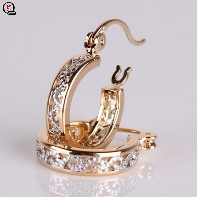 Earring Jewelry Gold-Filled-Hoop-Earrings Wedding Hollow-Carving-Pattern Fashion Engagement
