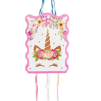 1 Juego de Piñata de papel plegado de unicornio de 29*40cm para niños y niñas, proveedor de artículos para cumpleaños, decoración para fiesta, juego de juguete para regalo