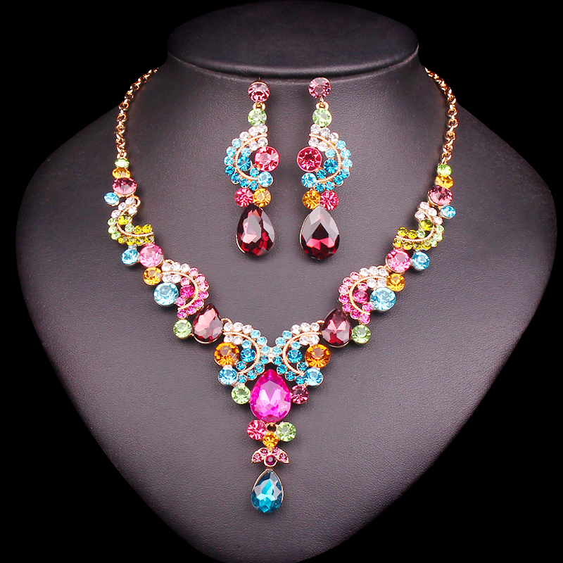 Luksus Multi-color Crystal bryllup smykker sæt Party kostume tilbehør indiske øreringe halskæde sæt til brude kvinder gaver