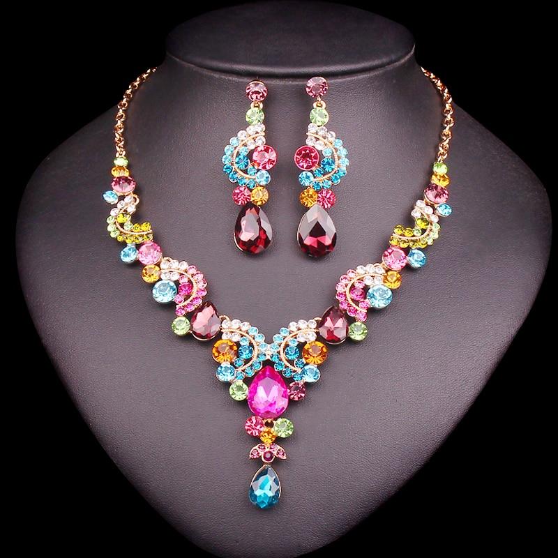Mewah multi-warna Kristal Pernikahan Set Perhiasan Pesta Kostum Aksesoris Indian Earring Kalung Set untuk Hadiah Pengantin wanita