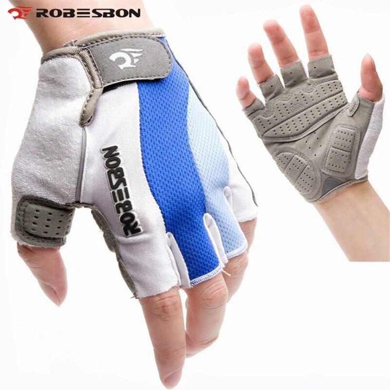 ROBESBON Half Finger font b Cycling b font font b Gloves b font Breathable Ciclismo Bicicleta