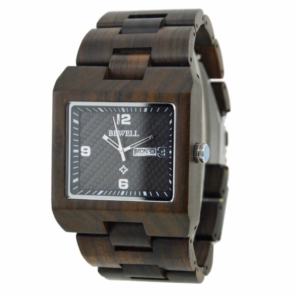 BEWELL Hot Sell Men Dress Watch Quartz Mens Wooden Ebony Watch Wood Wrist Watches men Natural Calendar Display Bangle Gift 016B senz