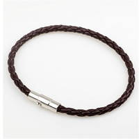 Handmade Boho Hippie Black White Dark Brown Macrame Leather Silver Color Easy Magnet Lock Closure Stackable Bracelets for Man 1