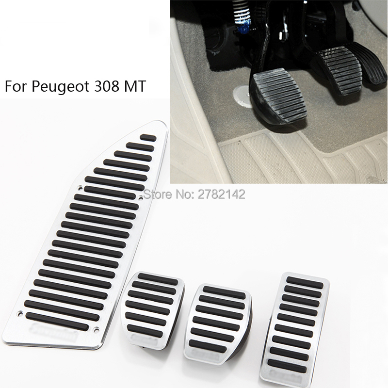 Pedal Cover Fuel Gas Brake Foot Rest Housing No Drilling For Peugeot 308 MT 2012-2014 Car-styling brand new 4pcs aluminium non slip foot rest fuel gas brake pedal cover for audi q5 mt 2010 2016