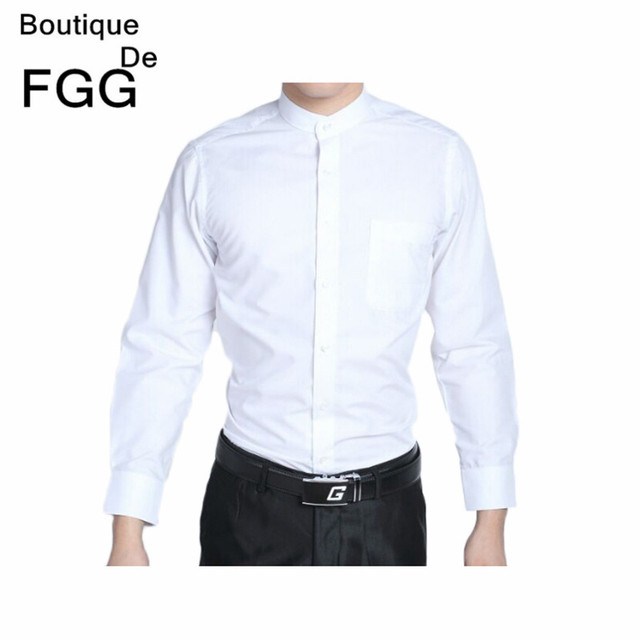 Groom White Chinese Tranditional Mandarin Collar Tuxedo Shirts Long Sleeve Wedding Party Prom Shirt Slim Fit