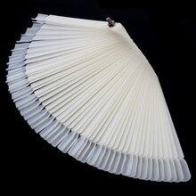 50 Tips White Nail Art Display Practice Foldable Fan-shaped Nail Polish Display False Tips