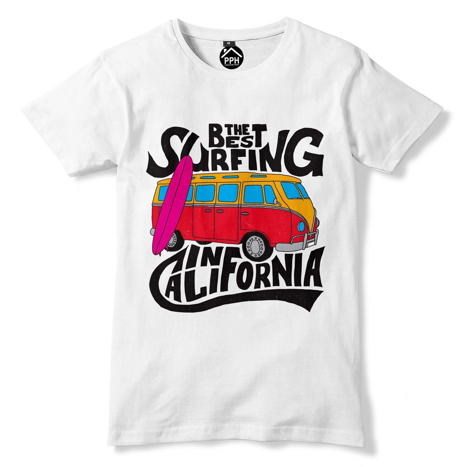 The Best Surfing California Cali Tshirt Surfed Mens Vintage Campervan T Shirt 126 T-Shirt Short Sleeve Brand
