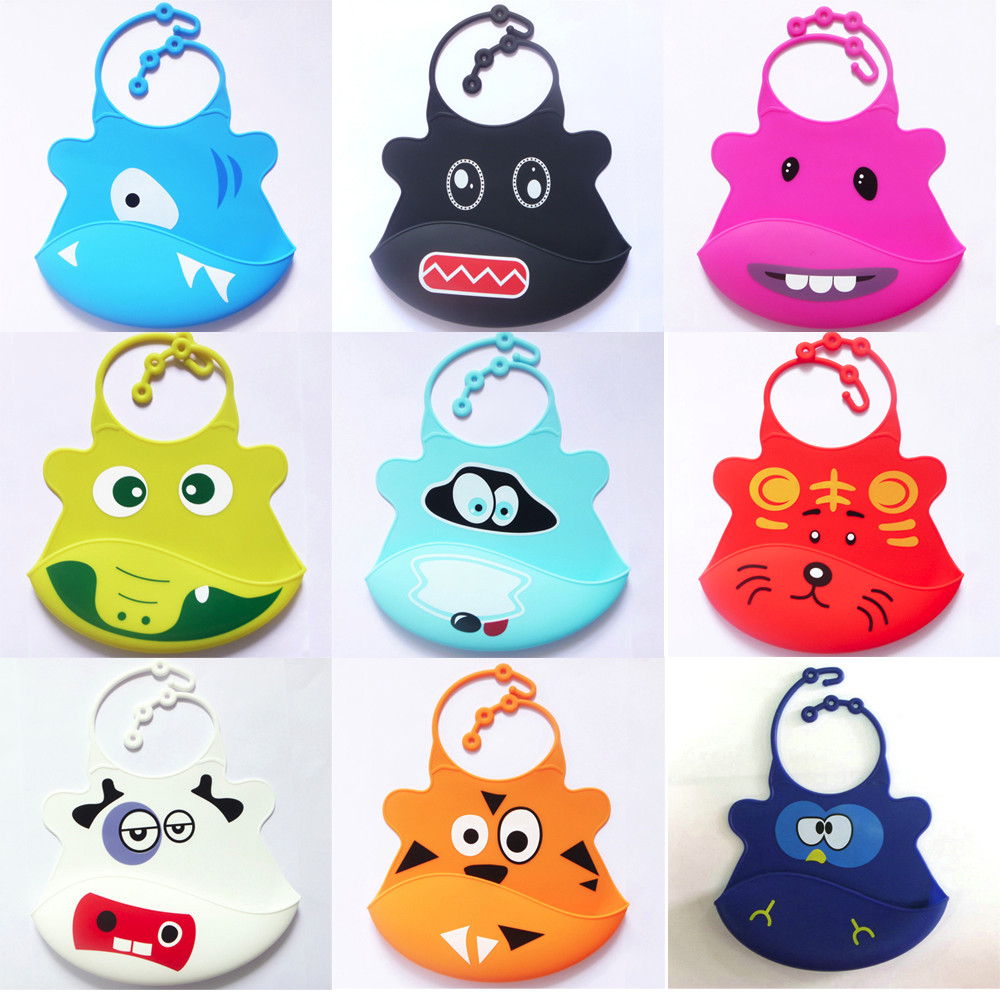 ISHOWTIENDA 2018 Cute Kid Infant Baby Bibs Soft Silicone