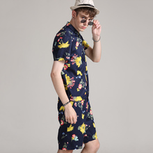 6ab80717915 2018 Flowers Men Hip-Hop Short Sleeve Romper Suit Jumpsuit Playsuit Overalls  One Piece(