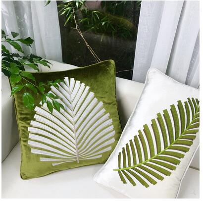 Southeast Asia Velvet Embroidery green leaf cushion cover sofa lumbar pillowcase cover for cushion household