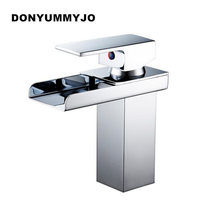 DONYUMMYJO Wholesale And Retail Deck Mount Waterfall Bathroom Faucet Vanity Vessel Sinks Mixer Tap Cold And Hot Water Tap