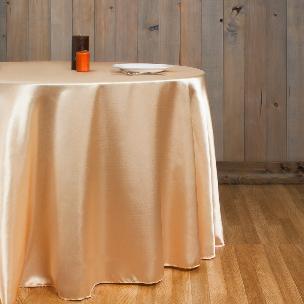 free shipping 10pcs cheap peach round satin table cloth banquet table cover wedding table linens