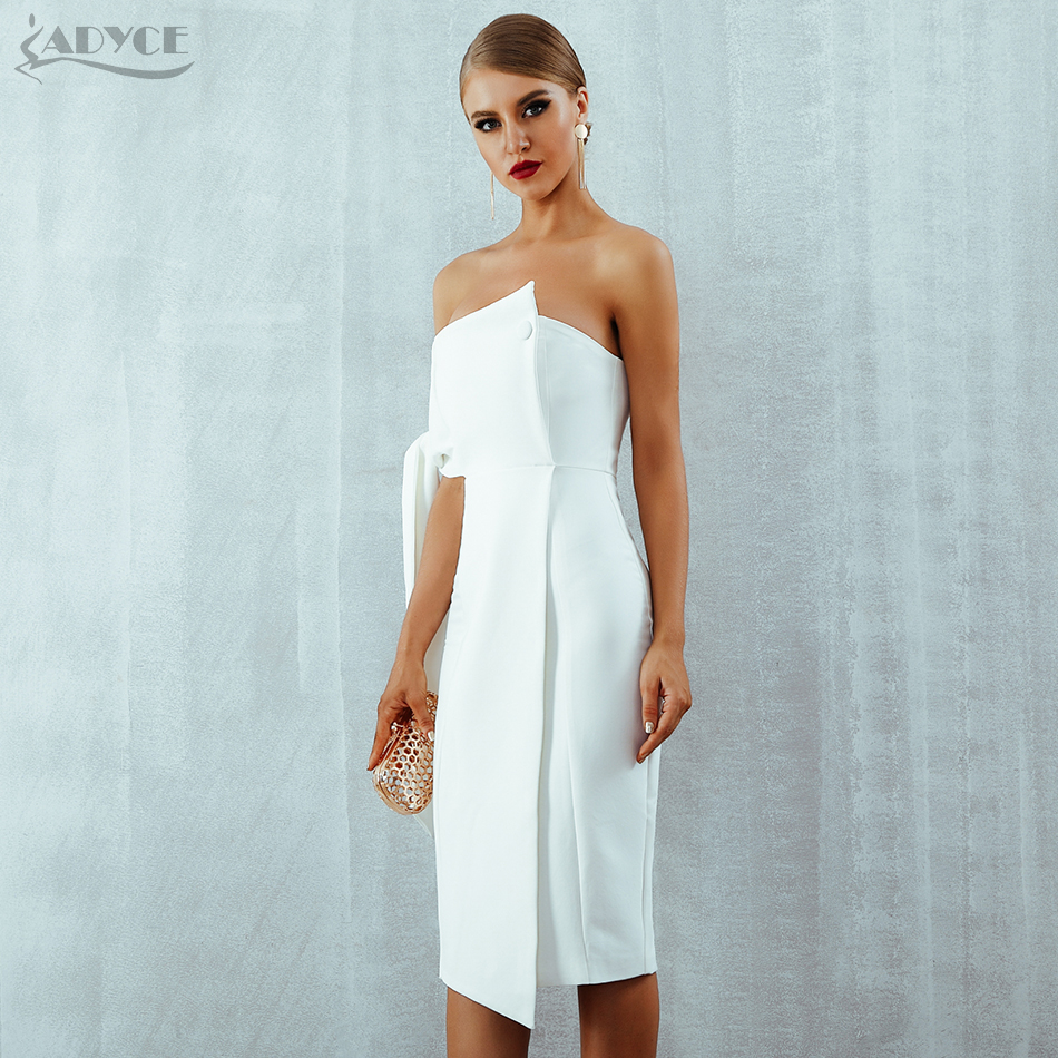 Adyce 2019 New Arrival Summer Women Dress Casual One Shoulder Tied Button Elegant Tassels Celebrity Runway Party Dress Vestidos