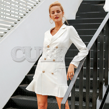 CUERLY Elegant ruffle double breasted women dress Office casual blazer white dress 2019 Autumn winter slim suit ladies dresses