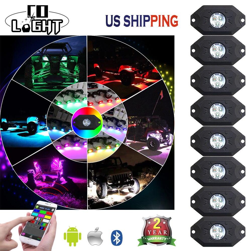 CO LUMIÈRE 8 PCS 3 ''9 W Multi-Couleur RGB LED Rock Lumière Kit avec Bluetooth Contrôleur Calendrier Fonction Musique Mode pour Voitures Camion Bus