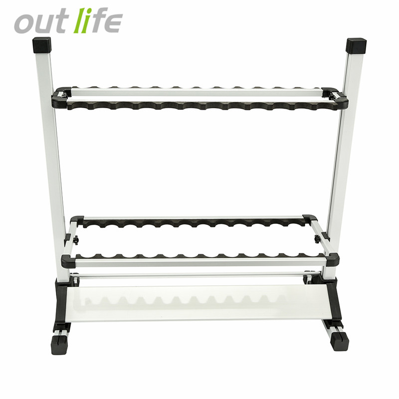 Aluminum Lightweight Adjustable Portable Fishing Rod Holder Rack for 24 Rods