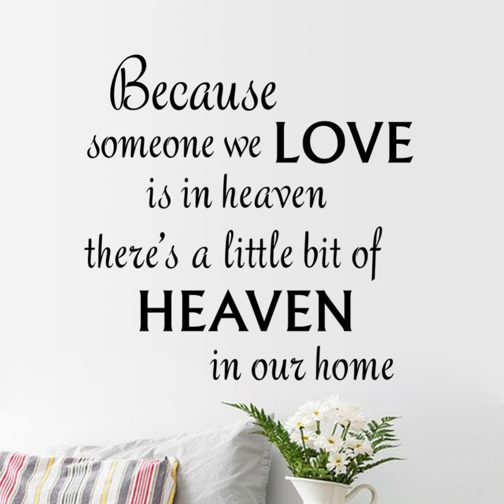 Aliexpress Buy new warm quote LOVE HEAVEN home decal wall sticker removable wedding decoration living room decor 3d wallpaper VA8436 from Reliable