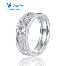 Natural Pink Stone Wedding Ring Genuine Sterling Silver Women Rings anillos plata mujer 925 Wholesale Gw Jewelry RIPY067H50