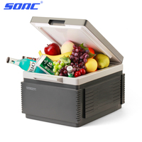 SOAC Portable Car Refrigerator 12L Auto Interior Fridge Drink Food Cooler Warmer Box Fruit Fresh keeping Cabinet Freezer camping