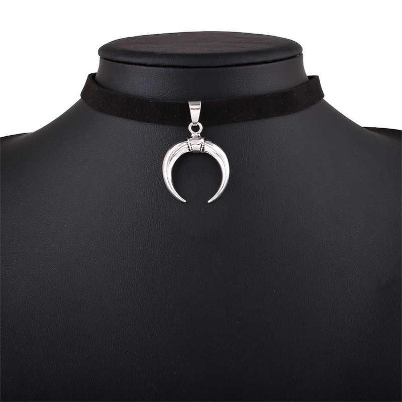 מכירה חדשה עיצוב שחור קטיפה רצועת כלים קולר שרשרת גותי בעבודת יד עם קסם ירח תליון גותי Emo עבור נשים