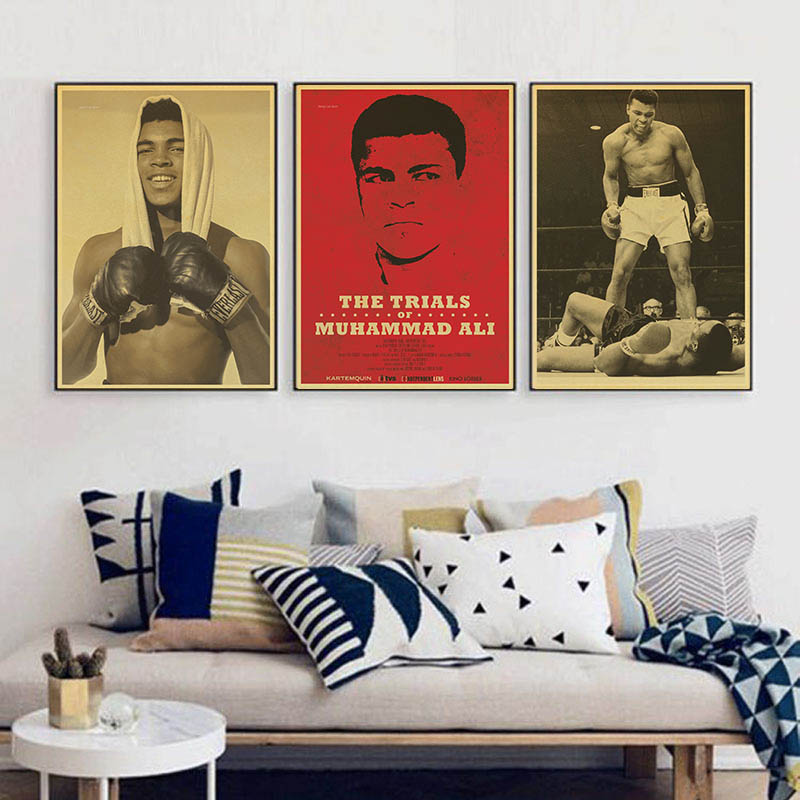 Boxing Champion Muhammad Ali Beat It Vintage Paper Poster Wall Painting Home Decoration 42X30 CM 30X21 CM