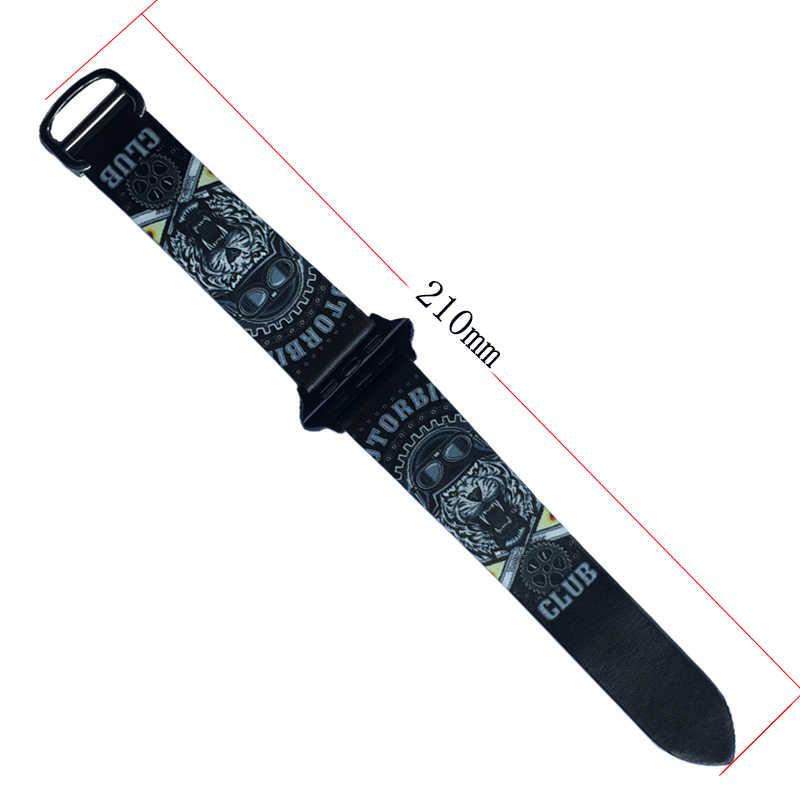 ヒップホッププリント革バンド iwatch ストラップシリーズ 3 2 1 フラワーデザイン腕時計のブレスレット時計バンド 42 ミリメートル 38 ミリメートル
