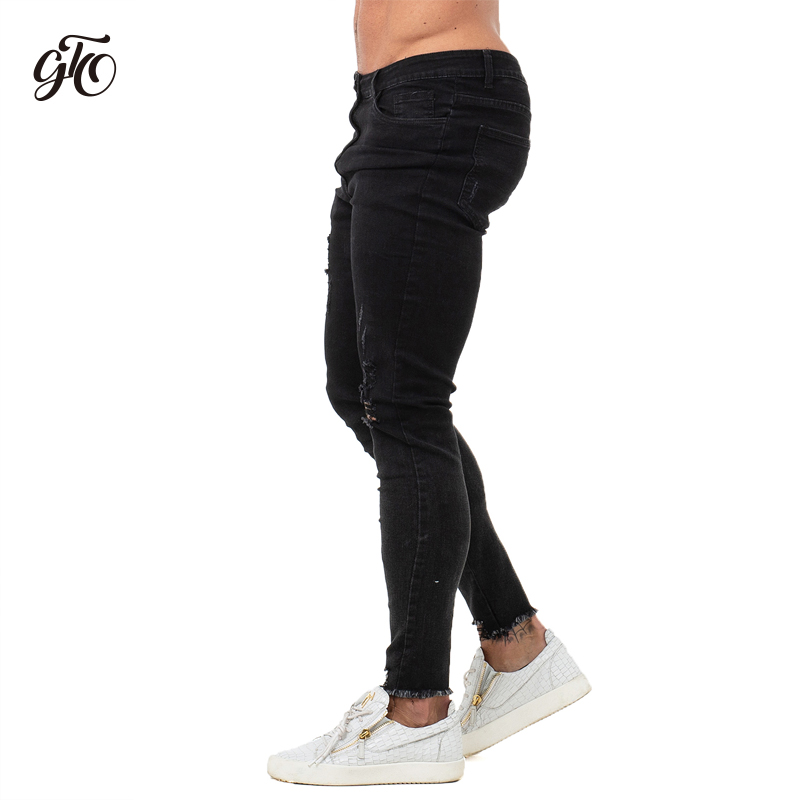 Mens   Jeans   Brand Super Stretch Disstressed Mens Skinny   Jeans   Black Ripped Slim Fit Pants Zipper Bottom Dropshipping zm66