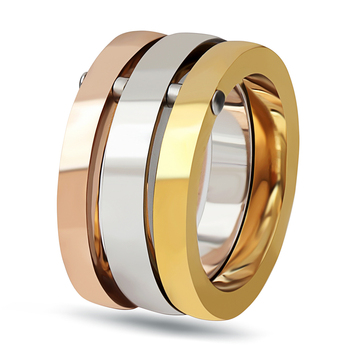 NIBA High Quality 3 Pieces/Set Rose Gold/Silver Color Titanium Steel Rings For Women Jewelry Anniversary Ring Set 1