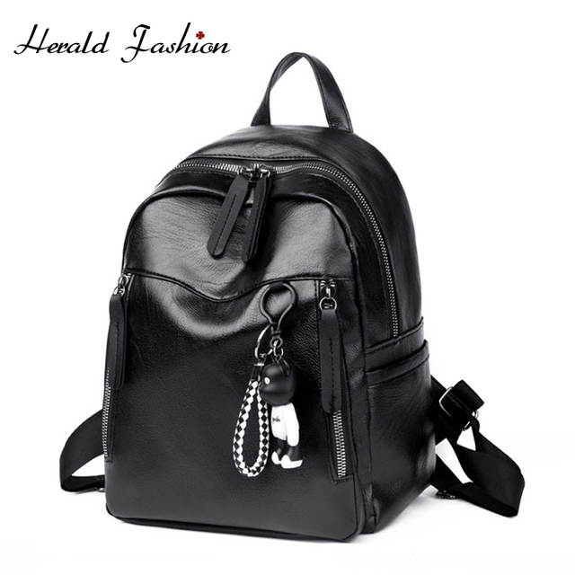 9aa8fbc5f3d US $9.99 40% OFF|Herald Fashion Women Backpack High Quality PU Leather  Backpacks for Teenage Girls Female School Shoulder Bag Bagpack mochila-in  ...