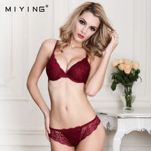 MIYING 2017 New Bra&Brief Sets Deep V Shape Embroidery Push Up Sexy Lace Bra Women Intimates