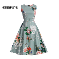 Women Summer Dress Vintage Floral Print Style Dress Women O Neck Sleeveless Party Clubwear Formal Dress