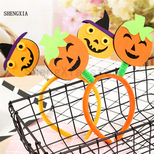 Halloween smiley pumpkin headband holiday party atmosphere dress  up performance Popular hot style tiara hair accessorie