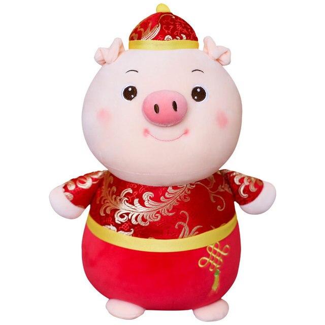 2019 Bonito do Ano Novo Ano Chinês Do Porco Porco Brinquedo de pelúcia Mascote De Pelúcia Stuffed Animal Macio Boneca Porco Dos Desenhos Animados travesseiro