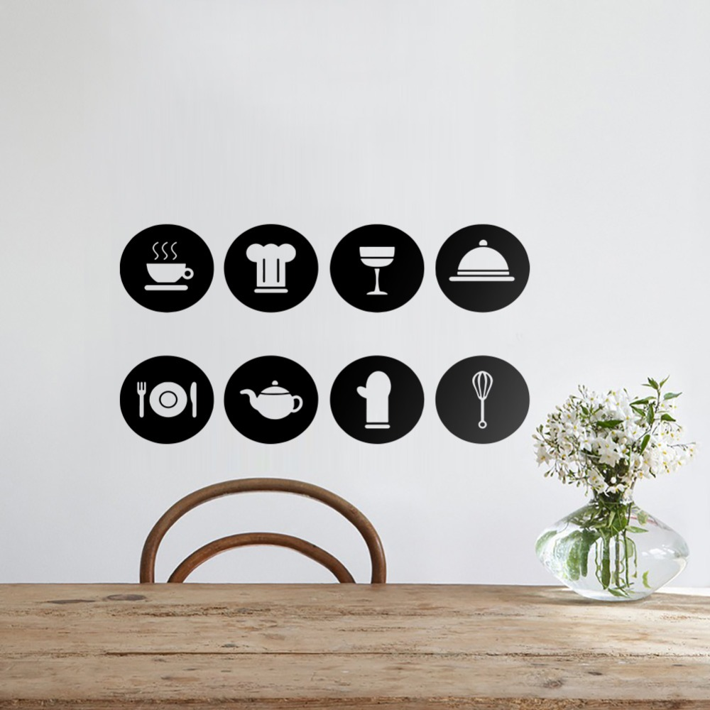 Tableware Pattern Wall Stickers DIY Kitchen Art Wall Decals Stickers Removable Vinyl Restaurant Decoration Kitchen Wall Decals-in Wall Stickers from ...