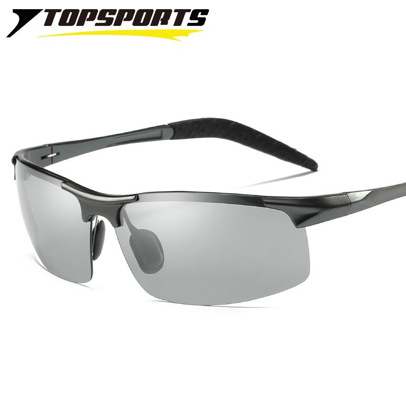 TOPSPORTS photochromic polarized Sunglasses sports men driving fishing color change Glasses UV400 eye protective Eyewear