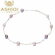ASHIQI 100% plata de ley 925 collar de perlas, natural de Agua Dulce verdadera perla de la joyería para las mujeres regalo SINN