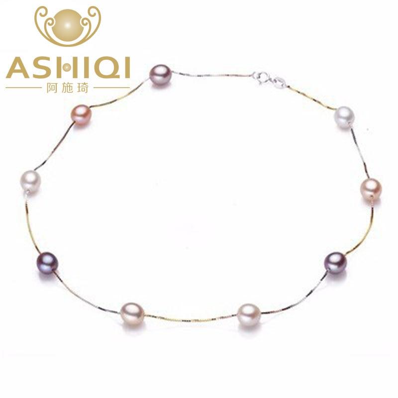 ASHIQI 100% 925 sudraba pērļu kaklarota, īsta dabīga saldūdens pērļu rotas sievietēm