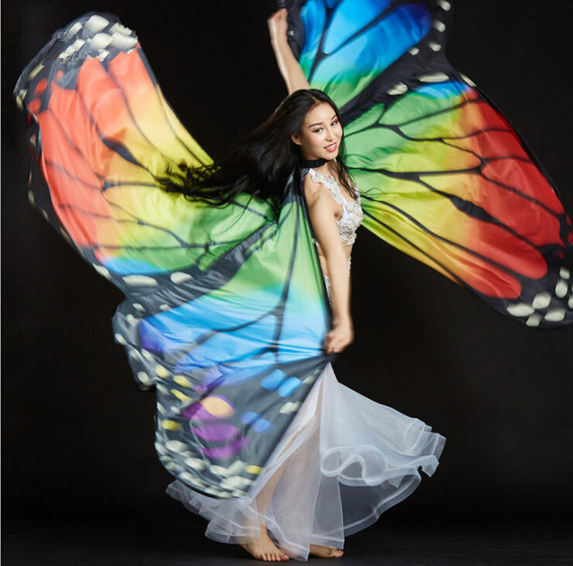 2b78bd1fc6a95 Women 360 Open Isis Wings Butterfly Cloak Stage Performance Props Arabic  Egypt Dance Costume Accessory Colorful Free Shipping