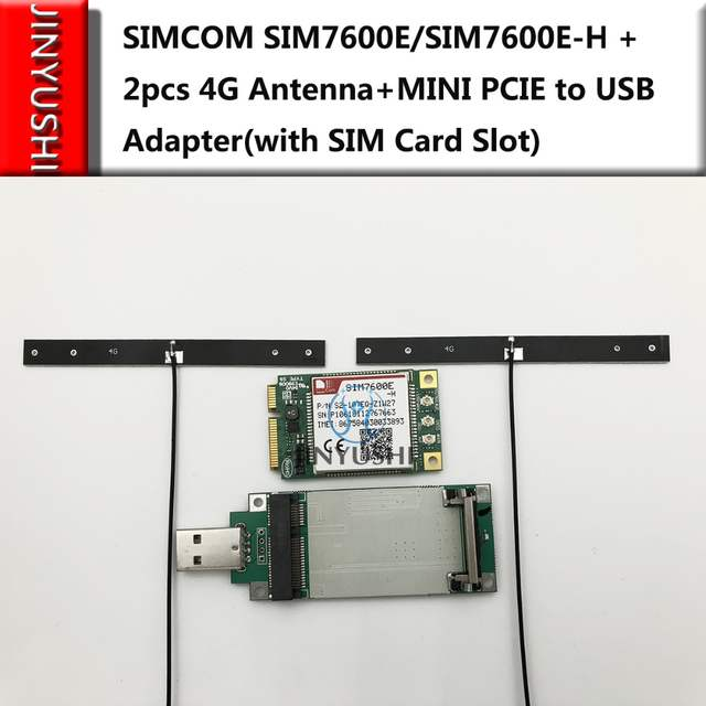 US $51 35 |SIMCOM SIM7600E/SIM7600E H + 2pcs 4G antenna +MINI PCIE to USB  adapter with SIM card slot Multi Band LTE Module CAT4 module-in Modems from