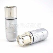 4pcs EIZZ Tellurium copper Rhodium plated 3pin Male XLR Plug Connector HIFI Audio MIC Snake Cable Jack