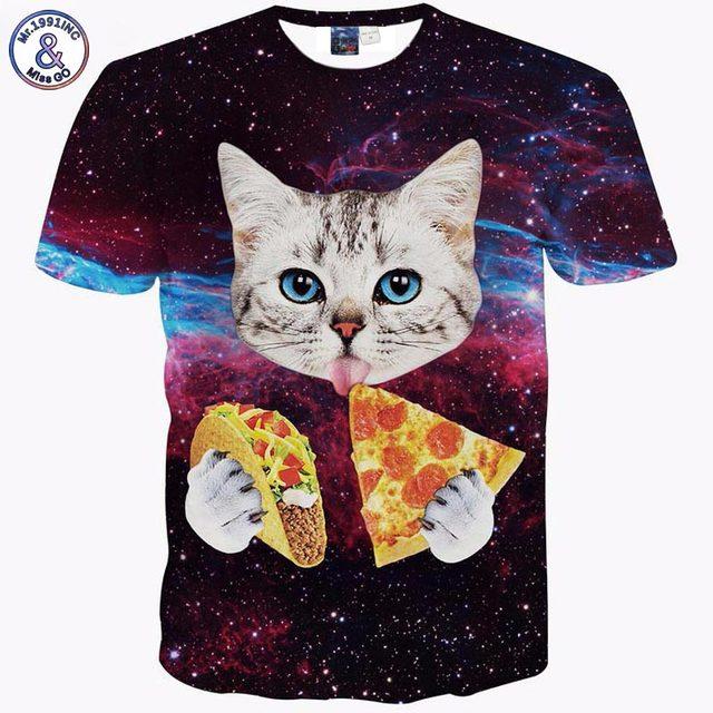 3D Pizza Cat print Summer Men/Women t-shirt short sleeve o-neck animals casual tshirt Hip Hop galaxy Rock tops Novelty Rap Tees