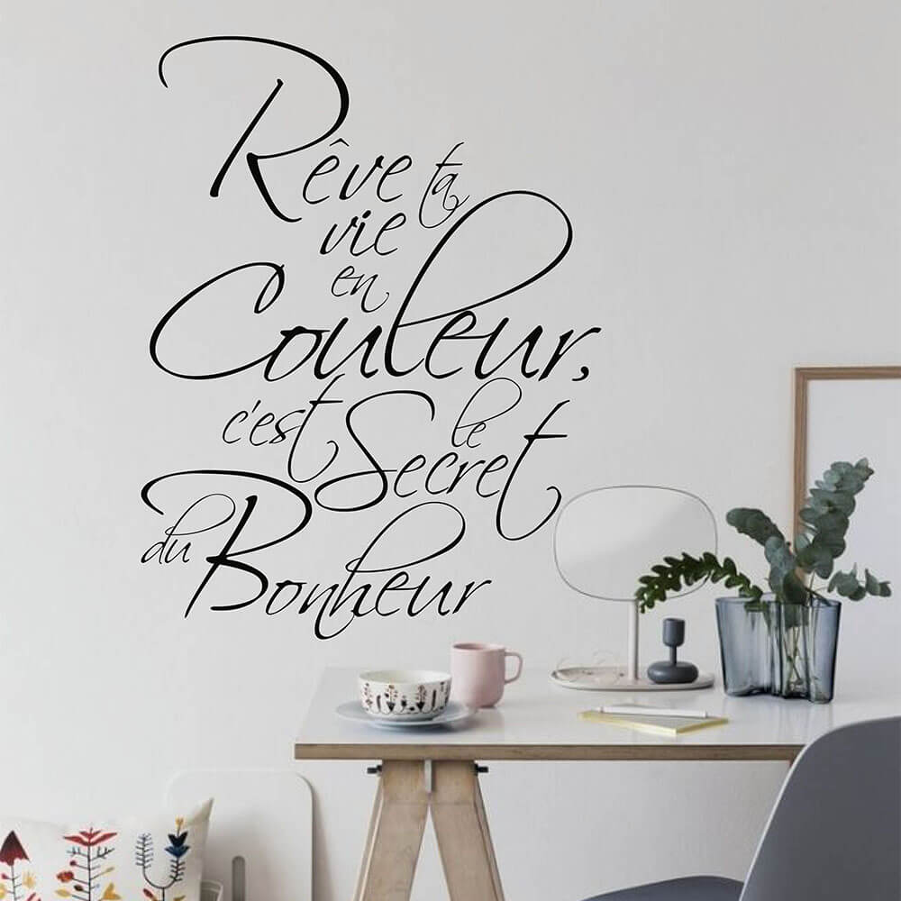 French Quotes Secret Bonheur Wall Decal French Lettering Wall Sticker About Bonheur 750QF