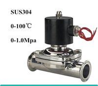 DC12V 1/2 DN15 Tri Clamp OD 50.5mm Stainless Steel 304 Electric Sanitary Solenoid Valve Silicone Sealing Normally Closed