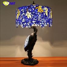 FUMAT Tiffany Qualität Wohnzimmer Europäischen Glasmalerei Glyzinien Tischlampe Kran Vogel Resin Ständer Luxus Glas Tischlampen