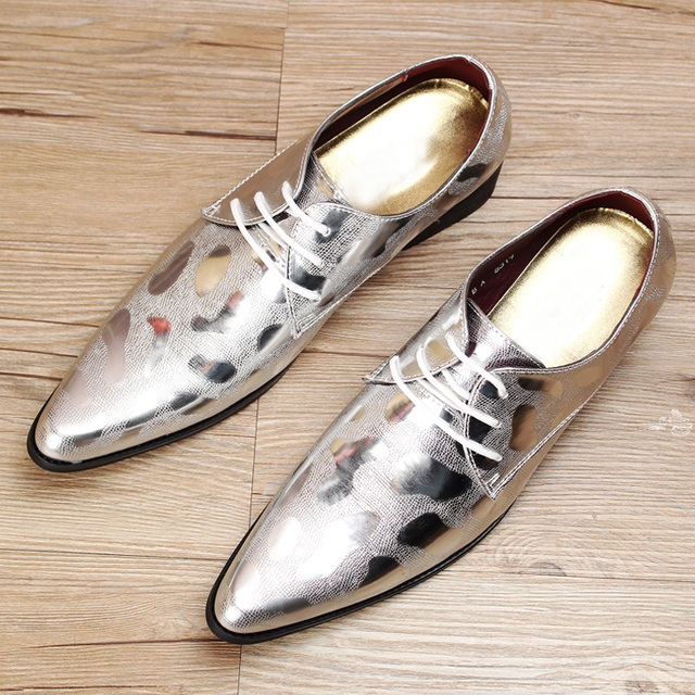 Gentleman Sliver Dress Shoes Men Wedding Leather Black Italian Men