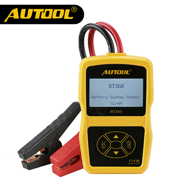 AUTOOL BT360 Car Battery Cranking Charging Tester Vehicle Digital Analyzer 2000CCA 220AH Multi-Languages BAD Cell Test Tools