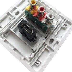 Image 5 - 화이트 컬러 HDMI2.0 3RCA 벽 패널 86mm 플레이트 오디오 비디오 플러그 소켓 여성 RCA 커넥터 여성