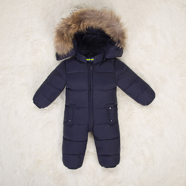 Hooded Children winter jumpsuit fur baby winter romper kids winter overalls warm boys snowsuit down baby jumpsuit long sleeve
